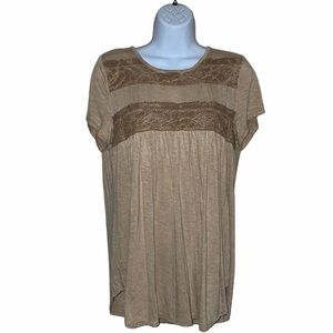 Knox Rose Beige Top with Lace Details